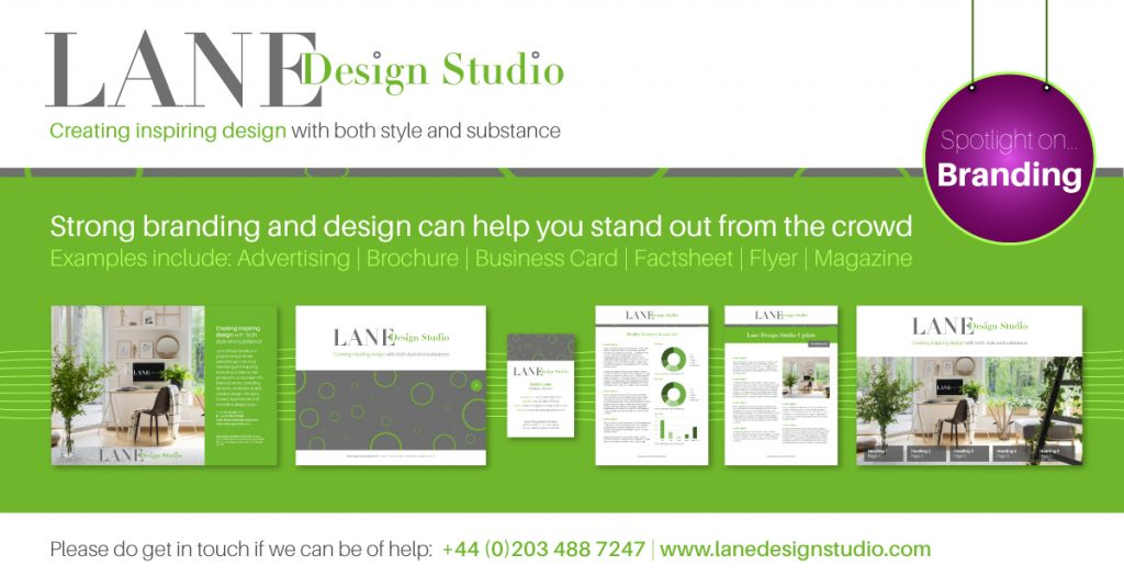 Pictures of brand style examples e.g. brochure, advert, flyer, business card, factsheet and magazine